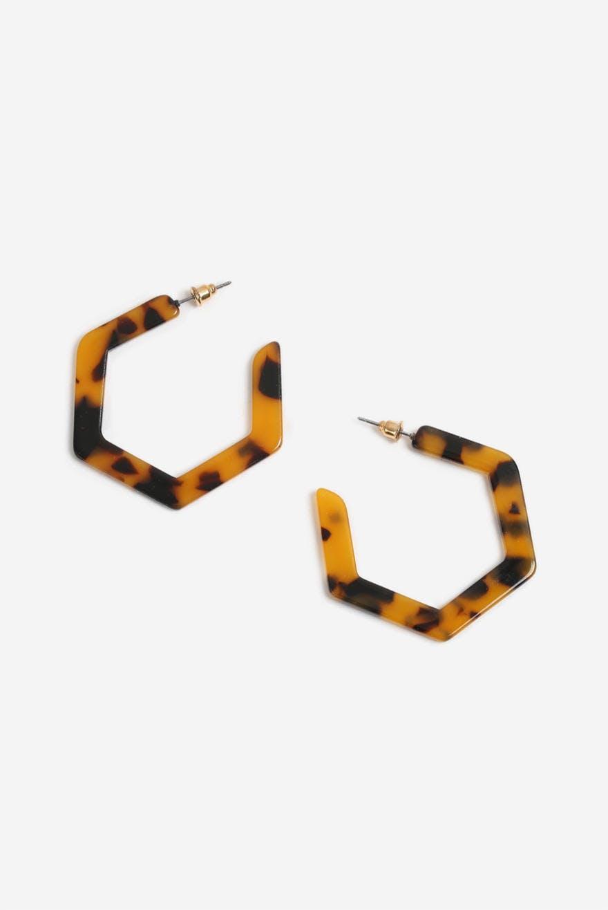 e872f38929 Tortoiseshell Hexagon Hoop Earrings 9.95 EUR